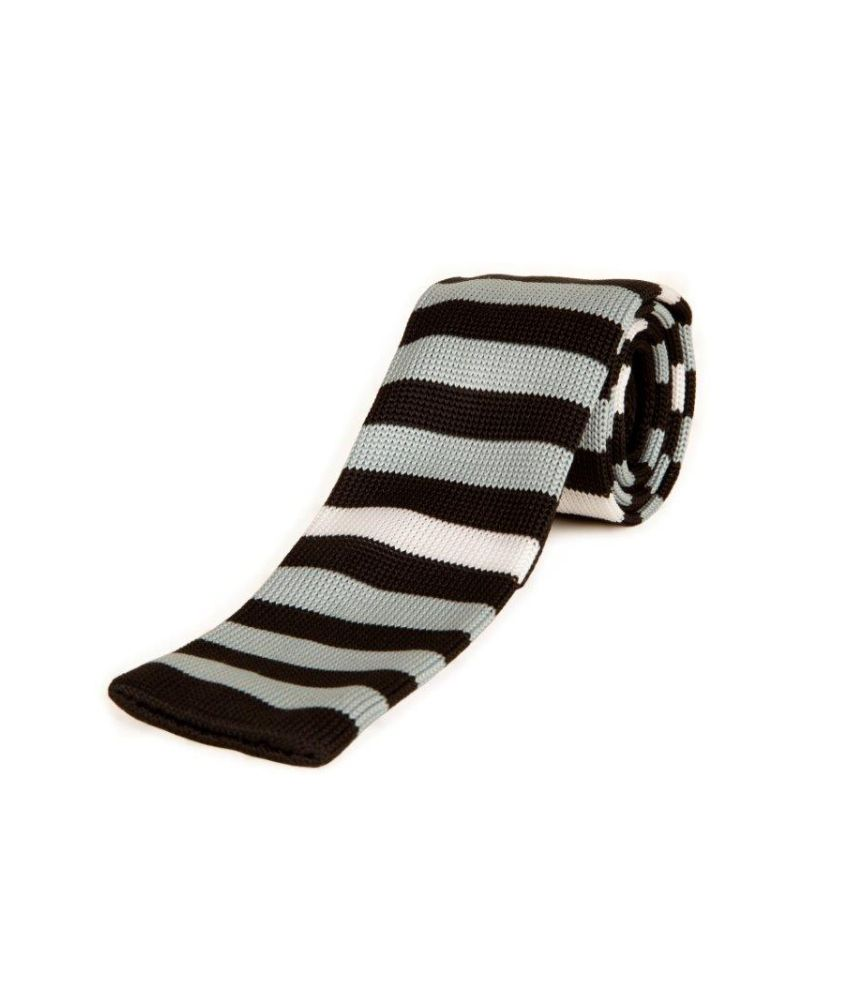 The Vatican Knitted Tie With Black, Light Grey And White Stripes