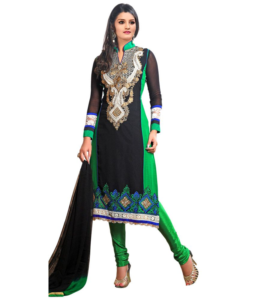 Fashion zone black embroidered dress material buy