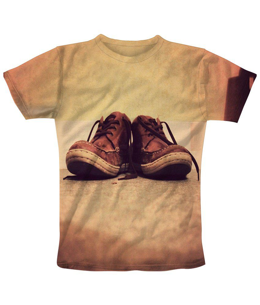 Freecultr Express Beige & Brown Shoe Lace Half Sleeve T Shirt