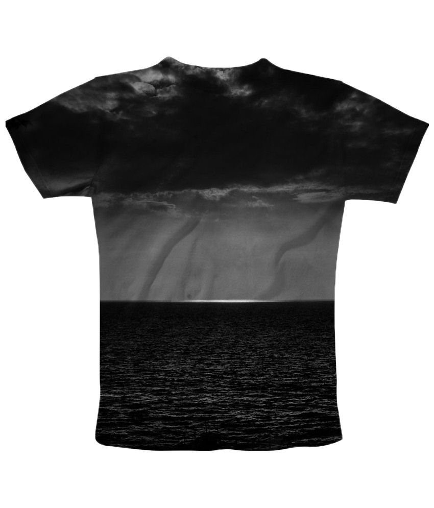 Freecultr Express Black & Gray Storm Graphic Half Sleeves T Shirt