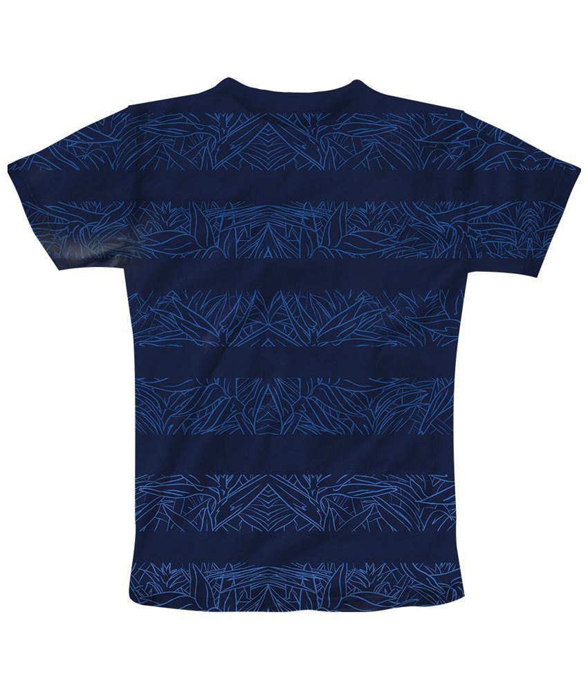 Freecultr Express Blue Leaf Half Sleeves T Shirt