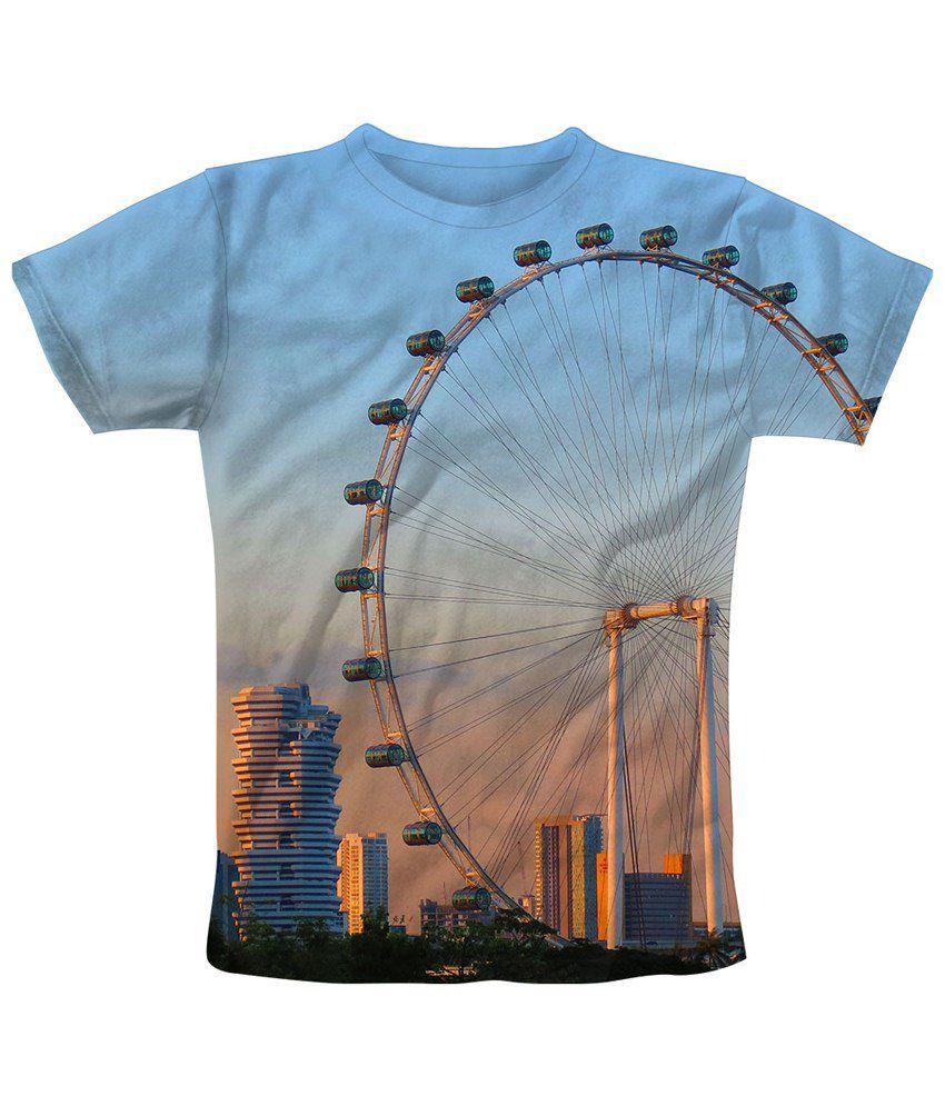 Freecultr Express Blue & Yellow Wheel Graphic T Shirt