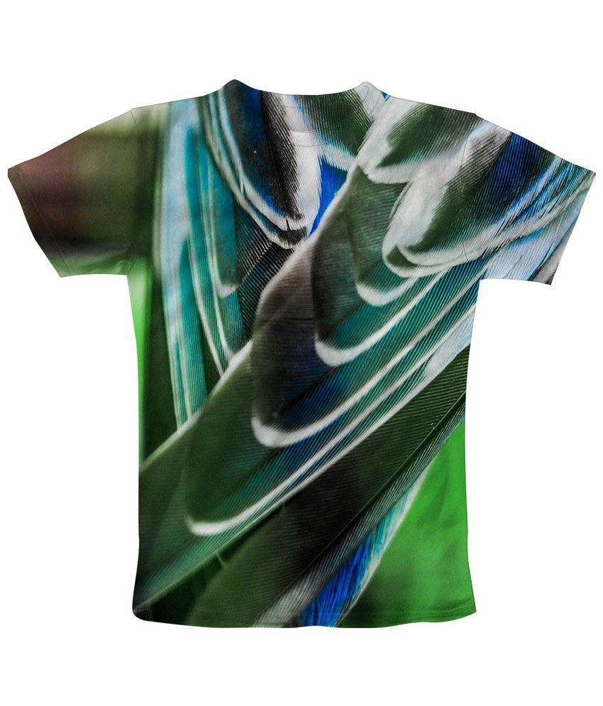 Freecultr Express Charming Green & White Feathered Printed T Shirt