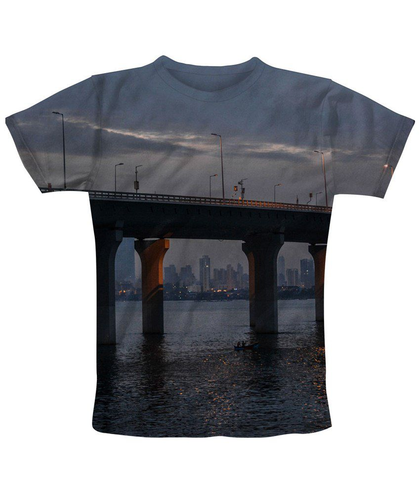 Freecultr Express Gorgeous Gray & Black Under Printed T Shirt