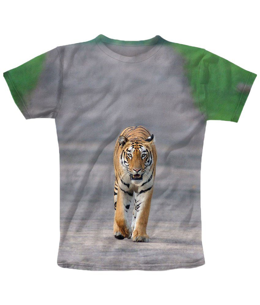 Freecultr Express Gray Tiger Half Sleeves T Shirt