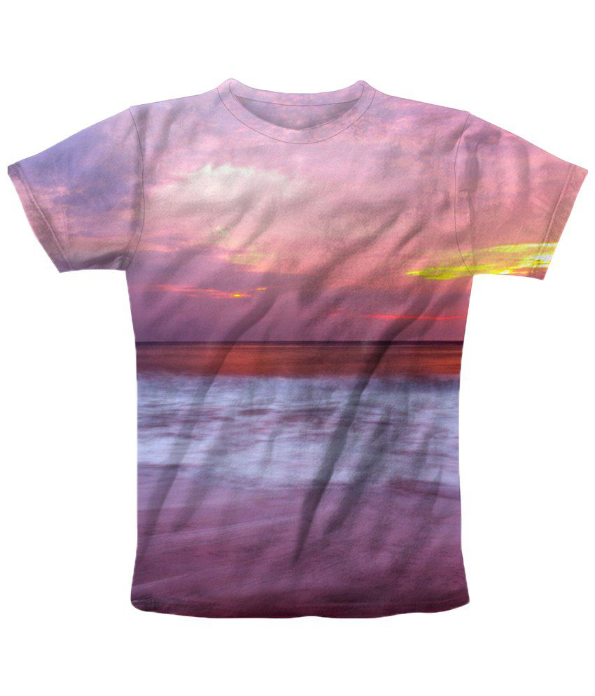 Freecultr Express Purple & Gray Sun Kiss Graphic Half Sleeves T Shirt