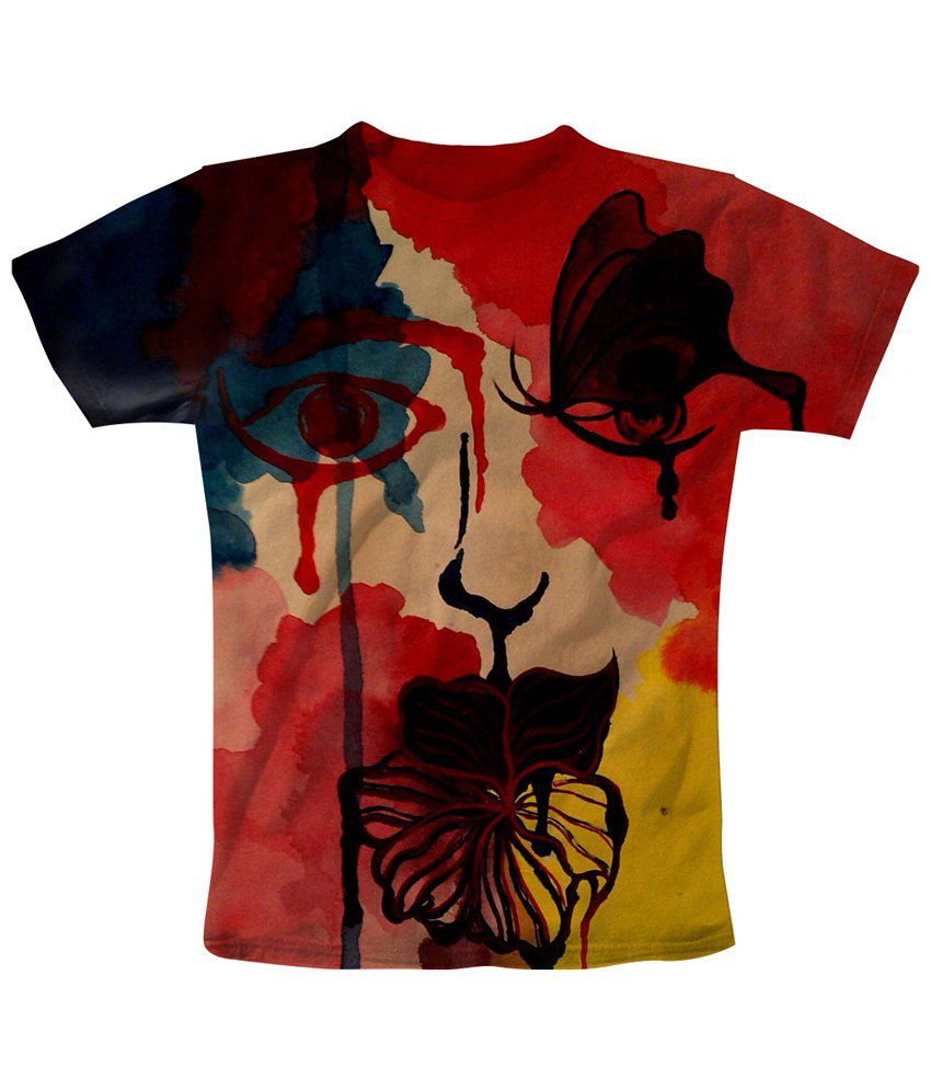 Freecultr Express Red & Beige Eye Fly Graphic T Shirt