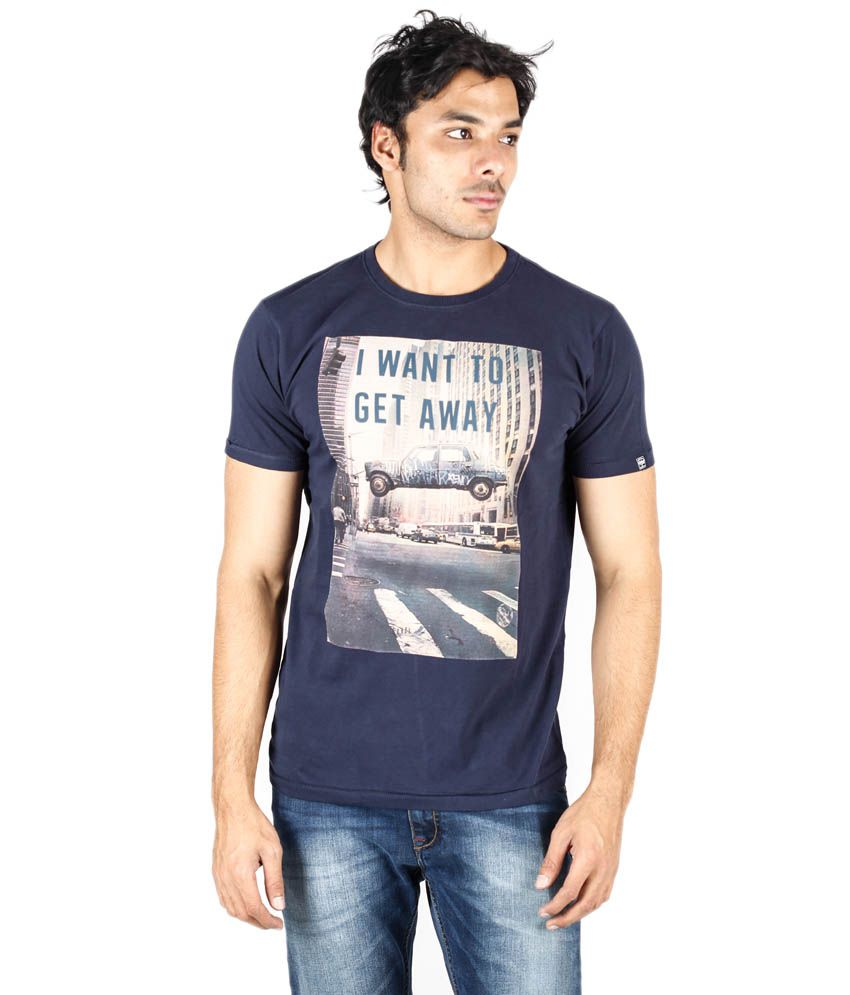 Pepe Jeans Blue Cotton Blend Round Neck Half Sleeves Printed T-Shirt