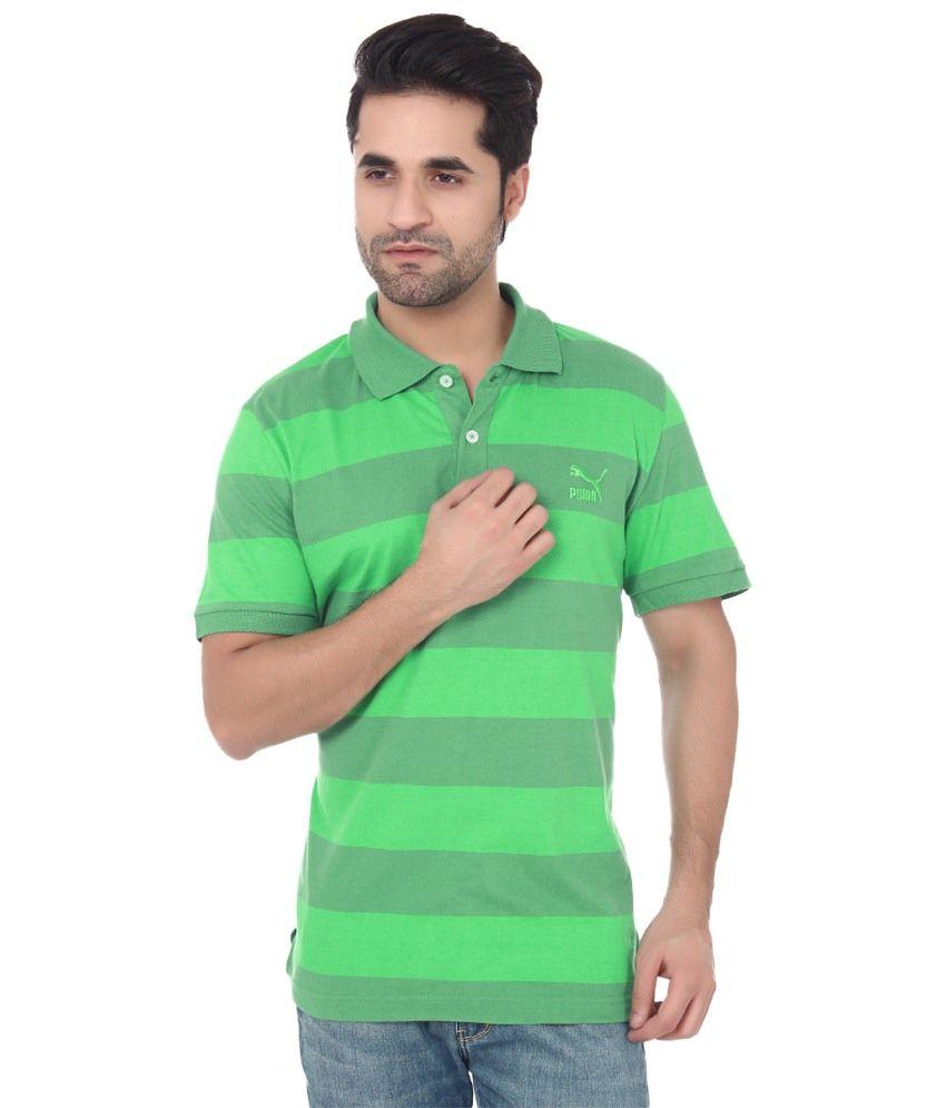Puma Green Cotton Polo T-shirts for Men