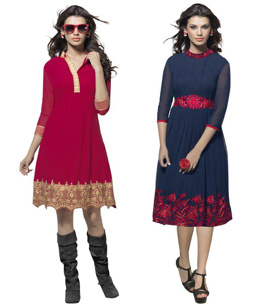 Surat Tex Red Georgette Dresses