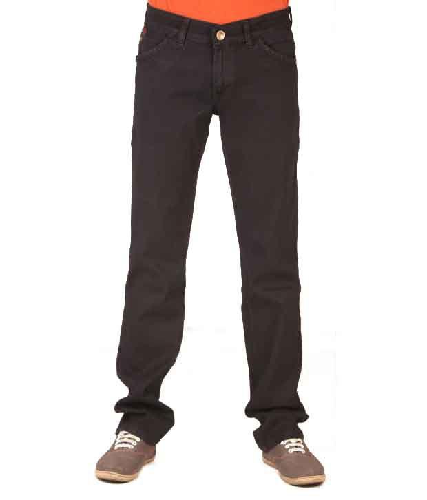 Elleven Blues Black Cotton Blend Regular Fit Jeans