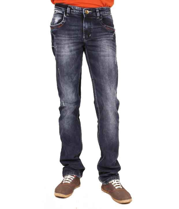 Elleven Blues Blue Cotton Blend Regular Fit Jeans