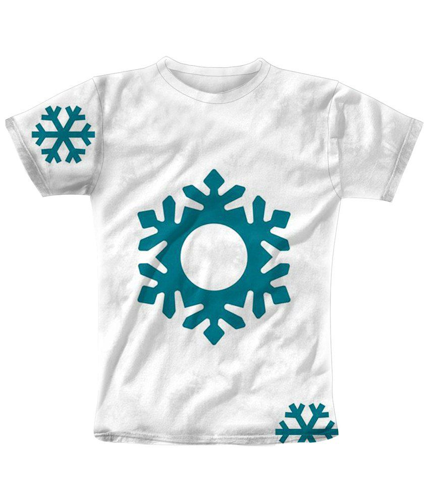 Freecultr Express White & Turquoise Snowflakes Graphic T Shirt