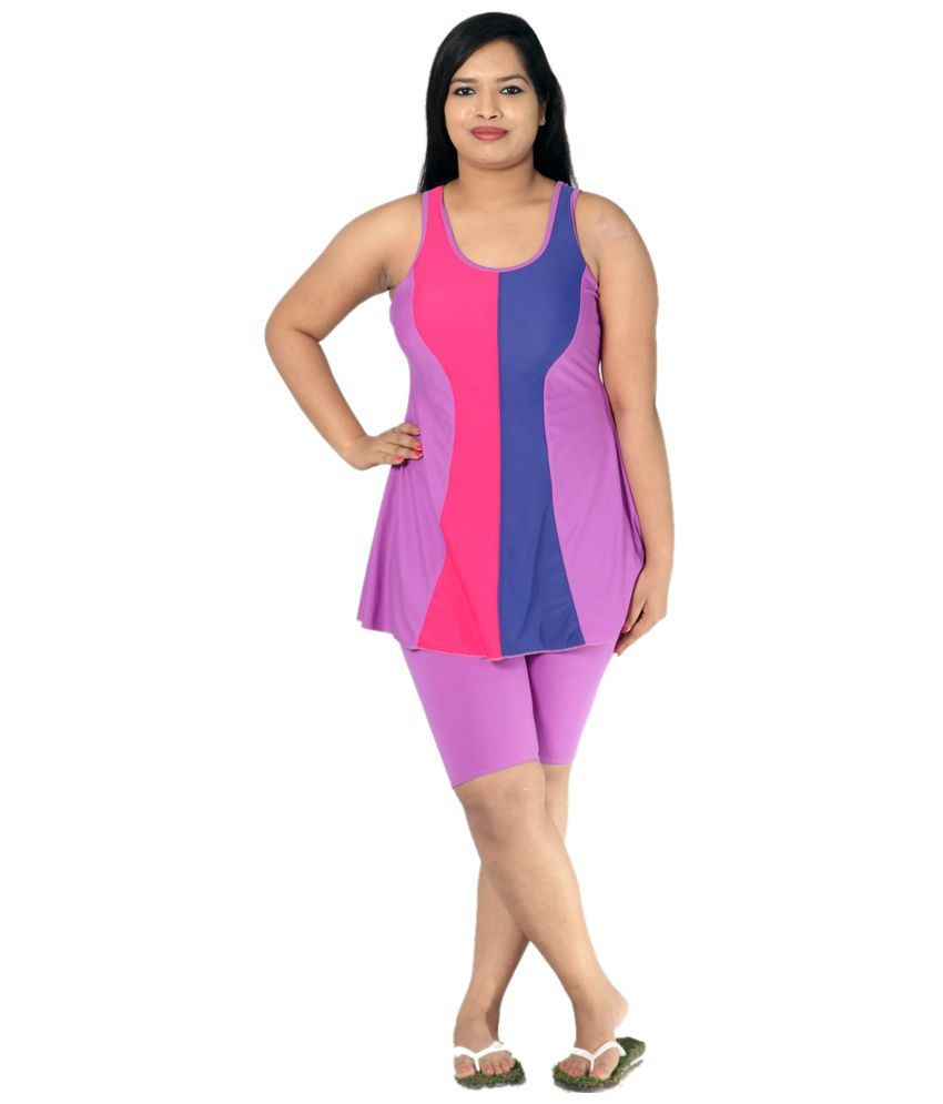 Indraprastha Bright Detailing Lilac Swimsuit With Extended Shorts/ Swimming Costume
