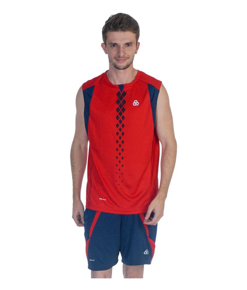 Jprana Men's Dry Fit Sleeveless T-Shirt - Red