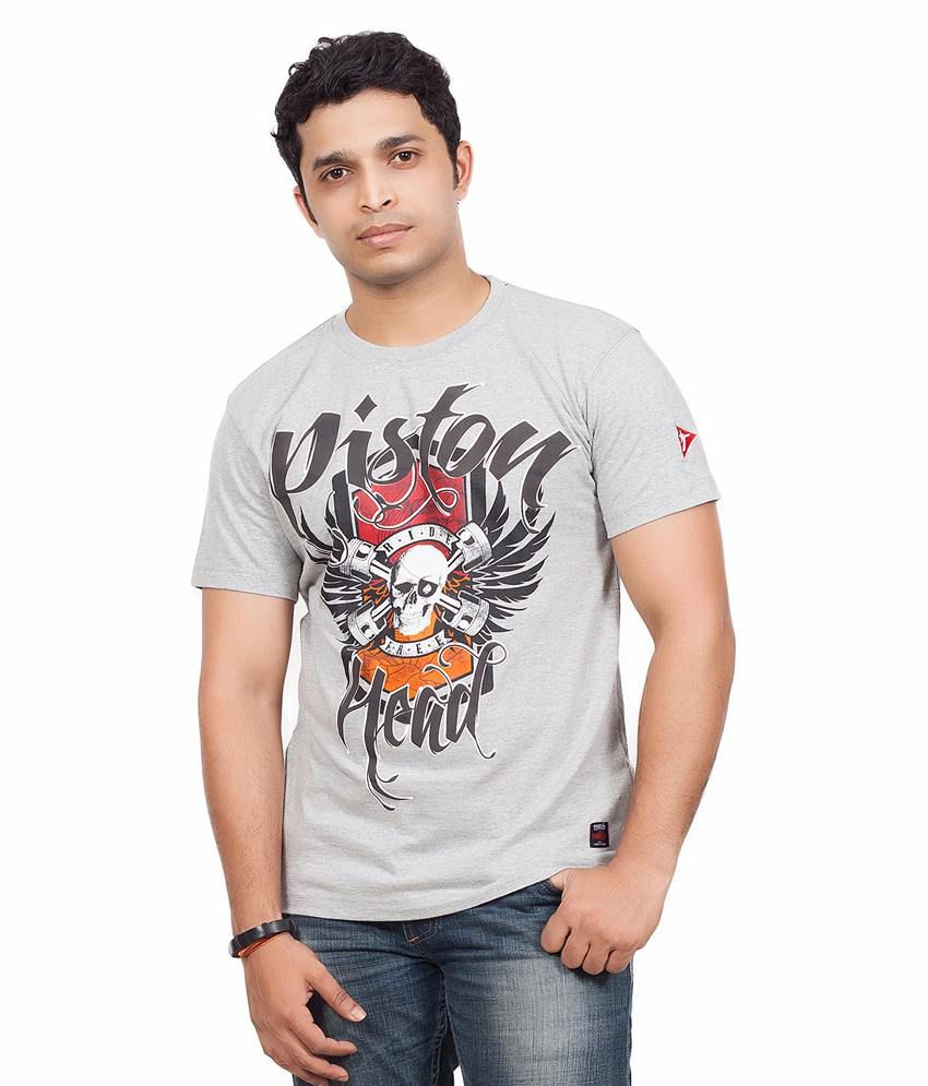Radical Clothing Pistonhead Men'S Poly Cotton T Shirt-Grey