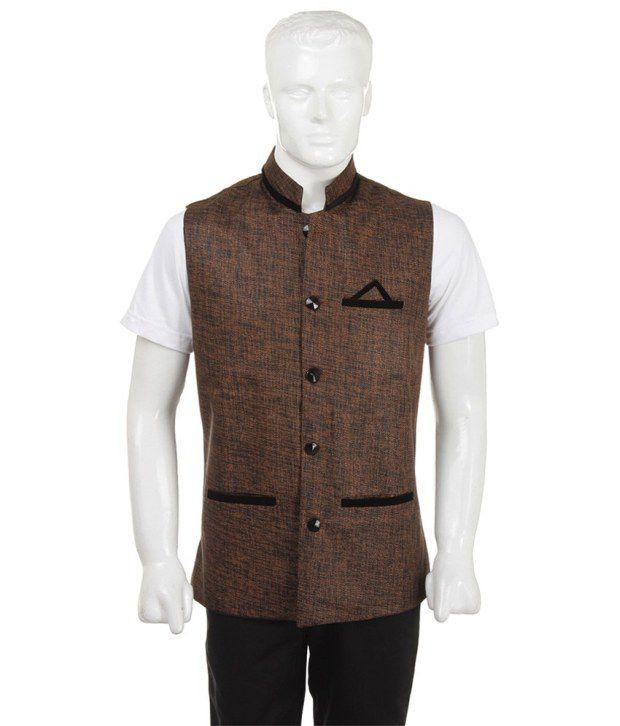 SelfieSeven Brown Solid Semi-Formal Waistcoat