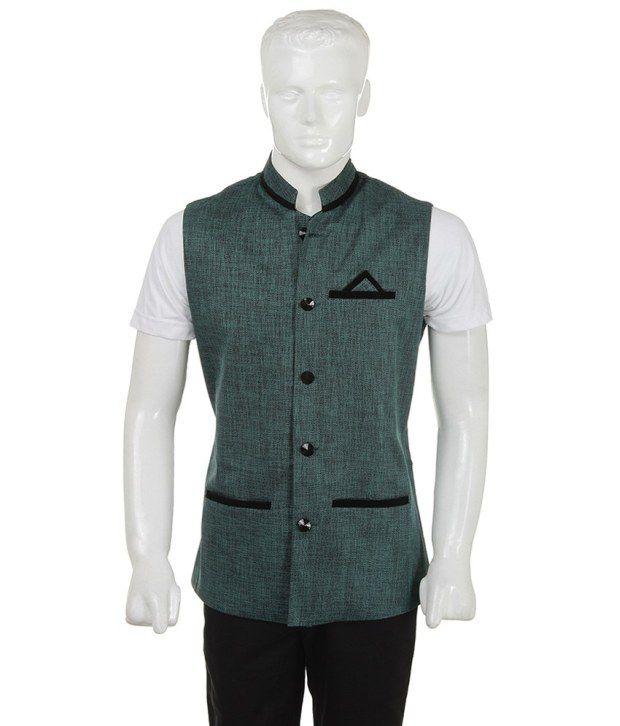 SelfieSeven Green Solid Semi-Formal Waistcoat