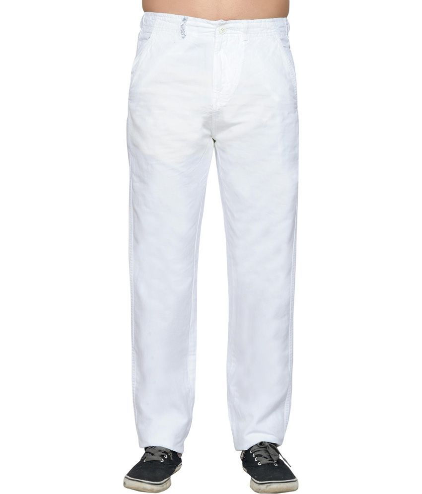 Thinc White Cotton Comfort Casual Chinos