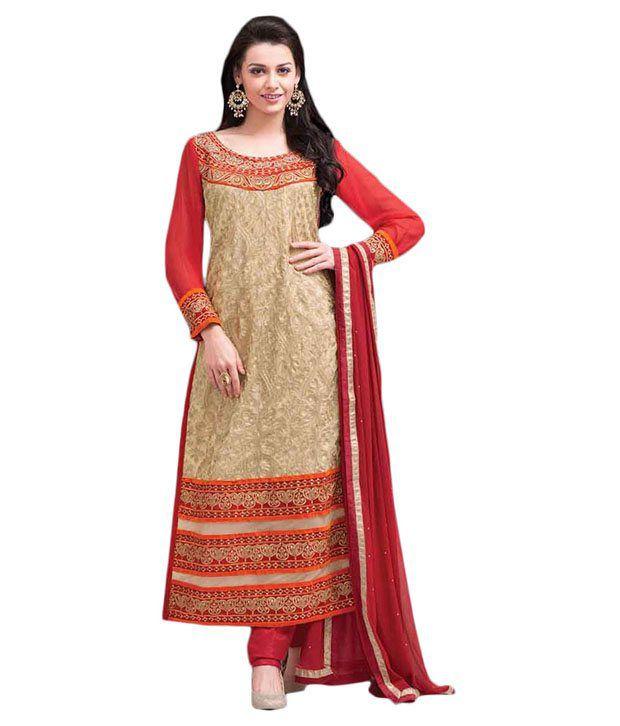 Brijraj Fashions Beige Net Unstitched Dress Material