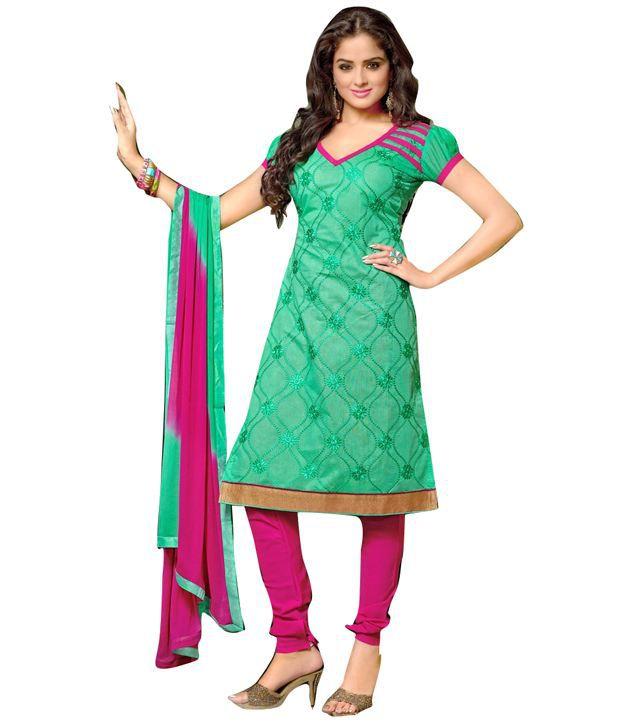 Cutie Pie Green Printed Georgette Regular Dress Material