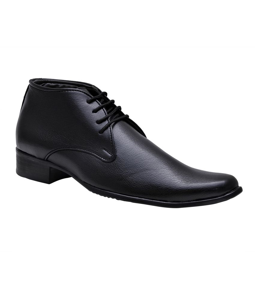 Leeport Black Synthetic Leather Lace formal Shoes