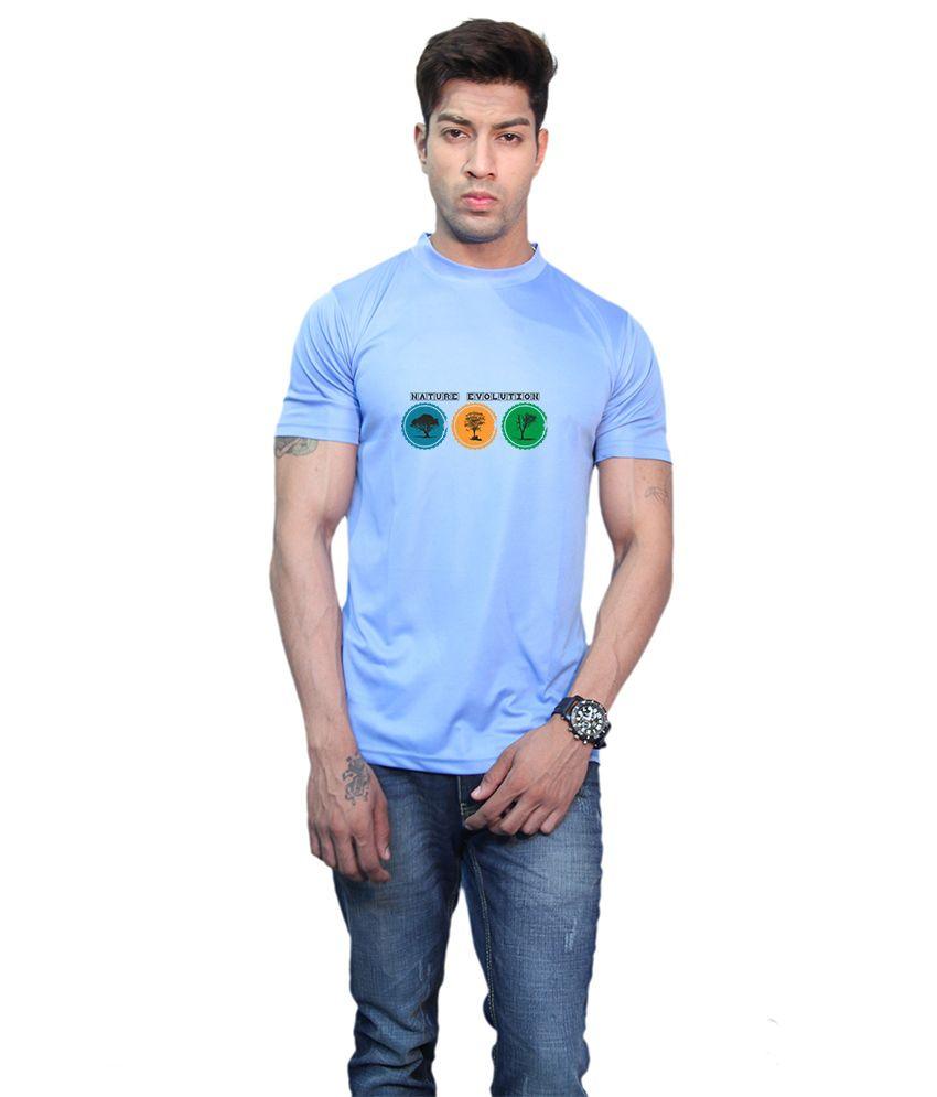 Printland Blue Printed Half T-shirt