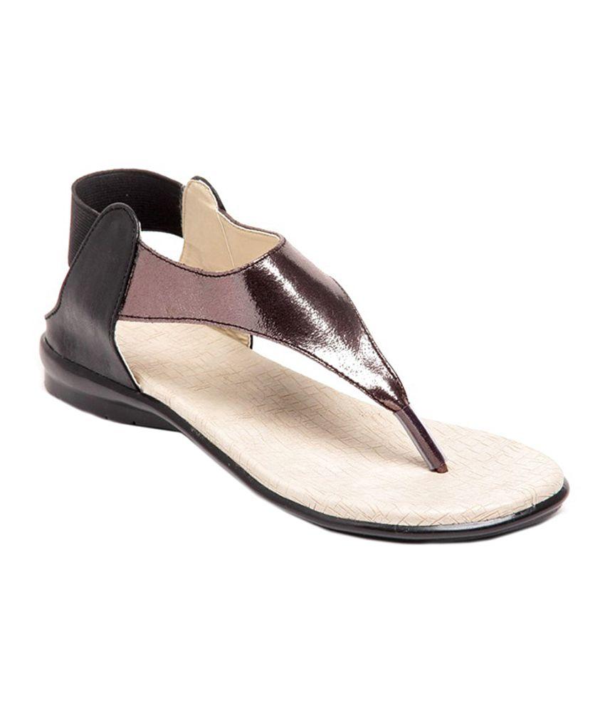 Shining Pearl Black Shining Beauty Faux Leather Sandal