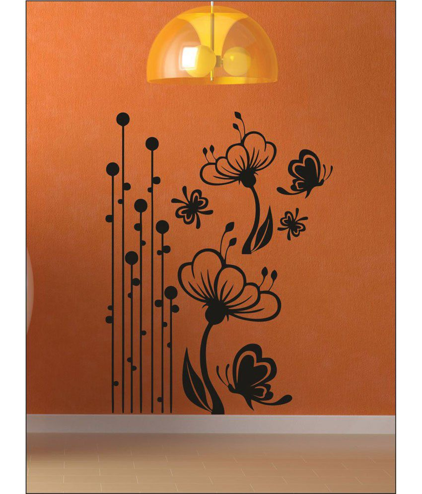 wall1ders sparkle flora black stickers large buy