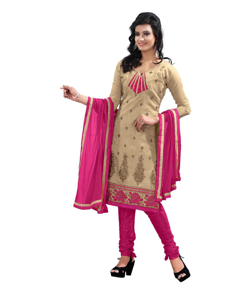 a780732a704 Blissta Beige Chanderi Dress Material available at SnapDeal for Rs.841
