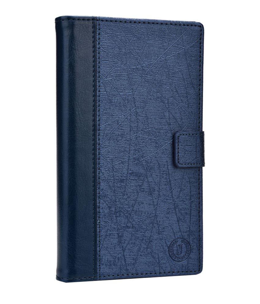 Jo Jo Cover Saturn Series Leather Flip Cover for Alcatel One Touch X'Pop - Dark Blue