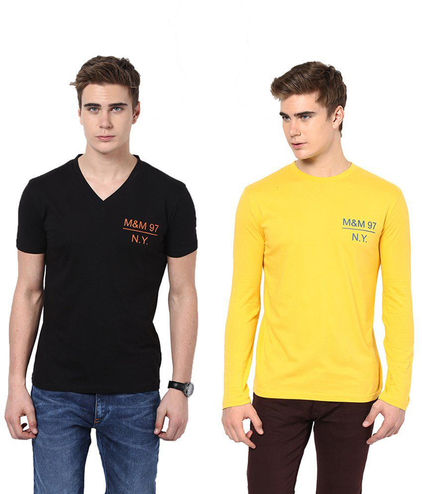 Monteil & Munero Captivating Black And Yellow Half Sleeves T Shirt Pack Of 2