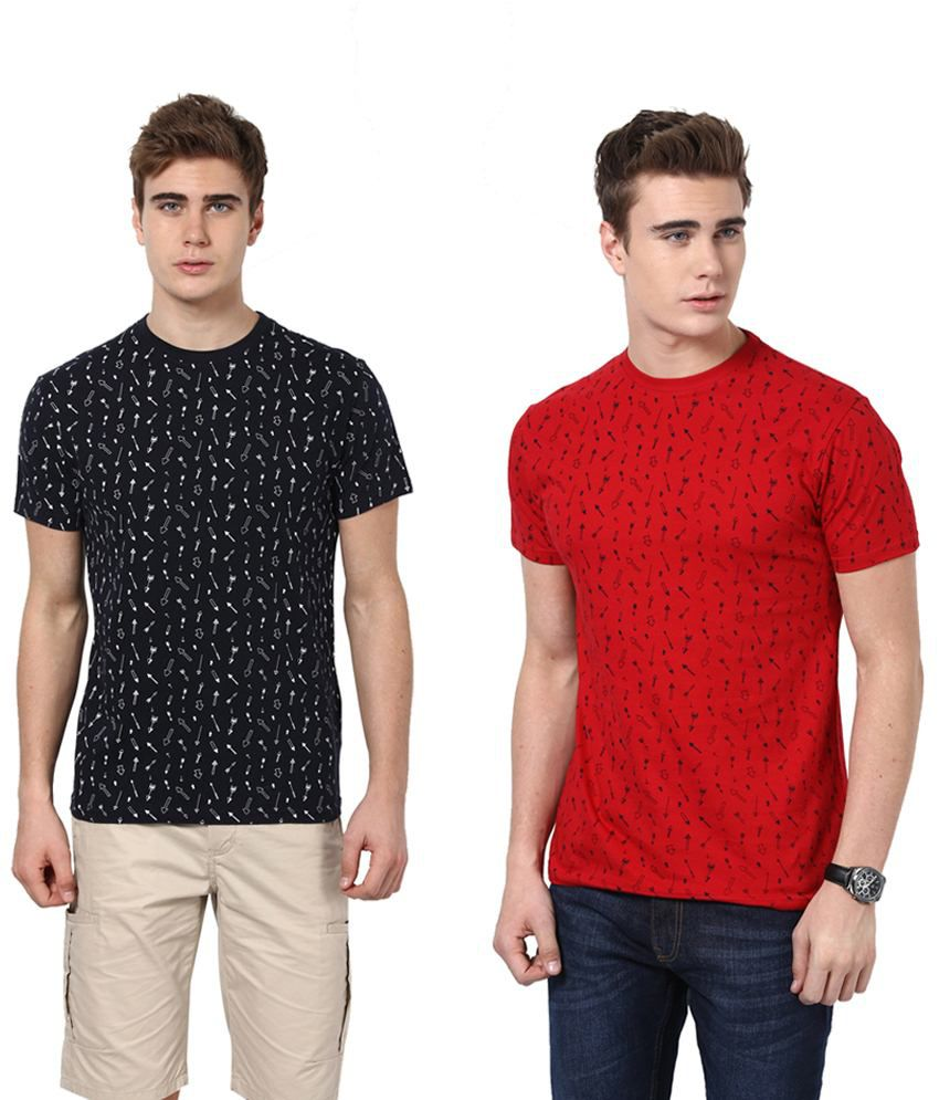 Monteil & Munero Red And Navy Half Sleeves T Shirt Pack Of 2