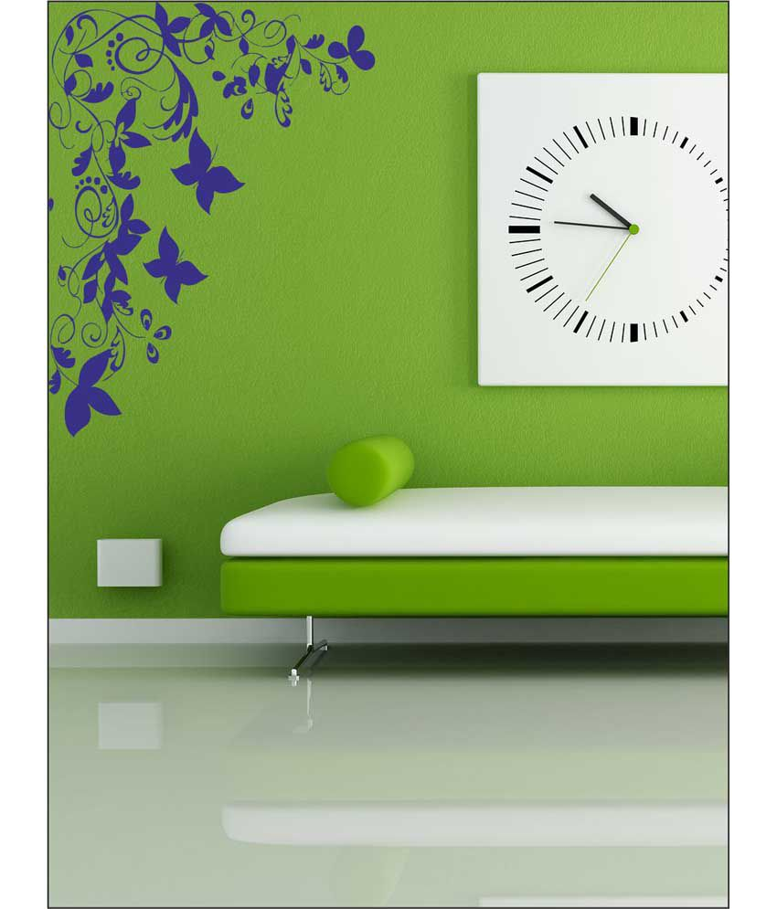 wall1ders butterfly floral corner blue stickers giant