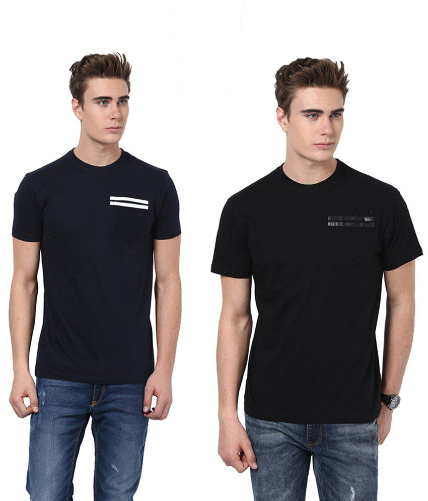 Monteil & Munero Stylish Black And Navy Half Sleeves T Shirt Pack Of 2
