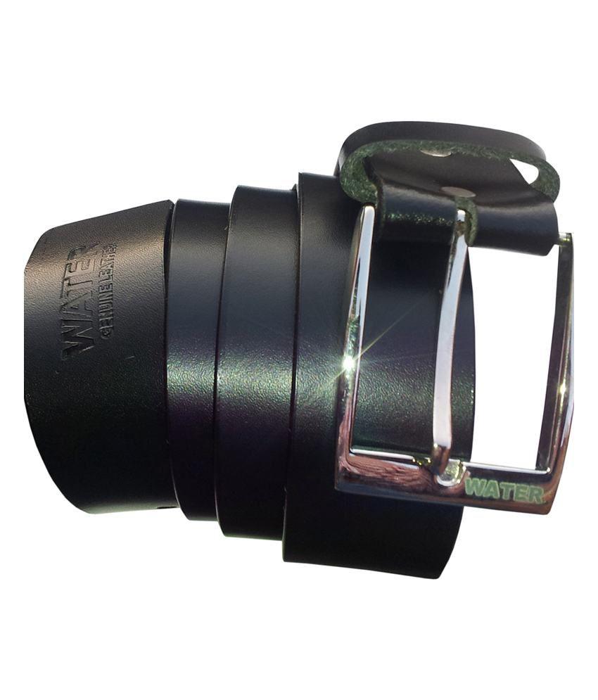 Water Black Leather Men's Formal Belt