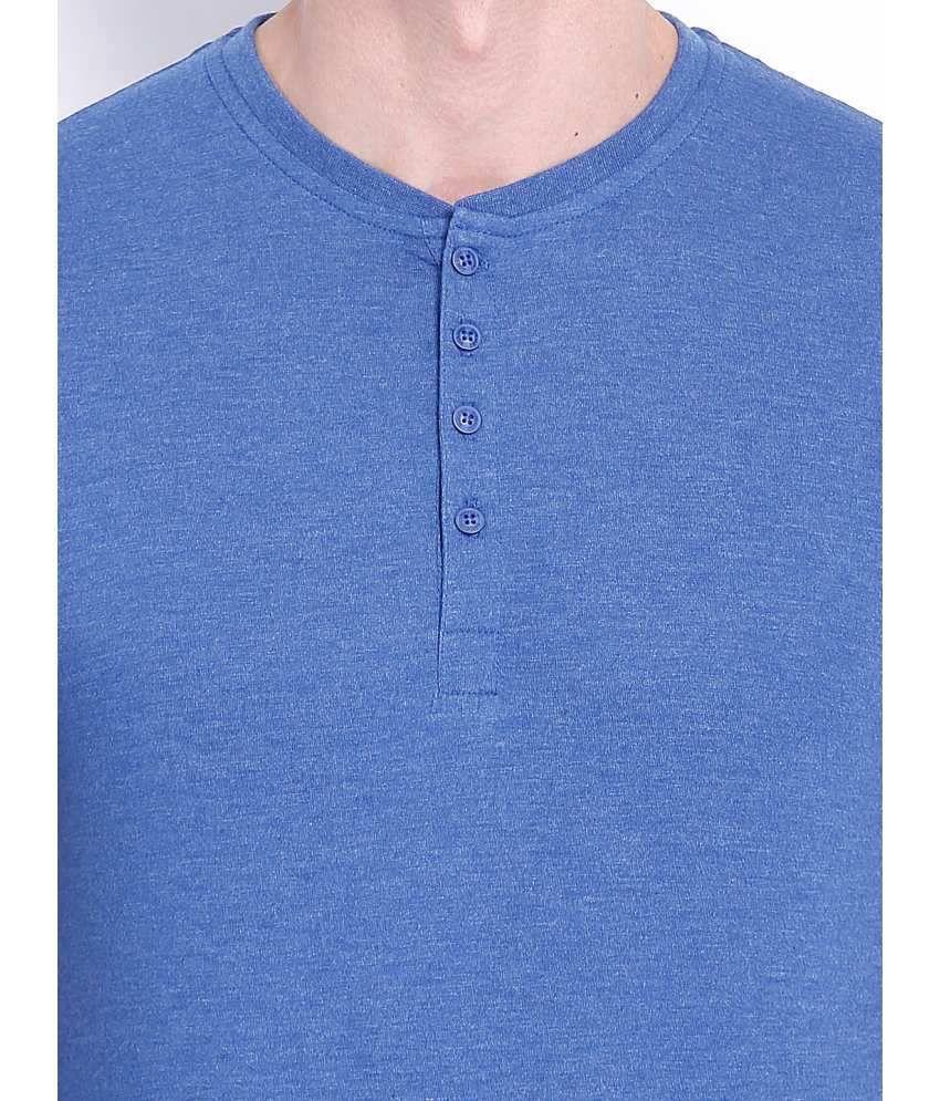 Highlander Blue Cotton Blend Henley T  Shirt Regular Fit