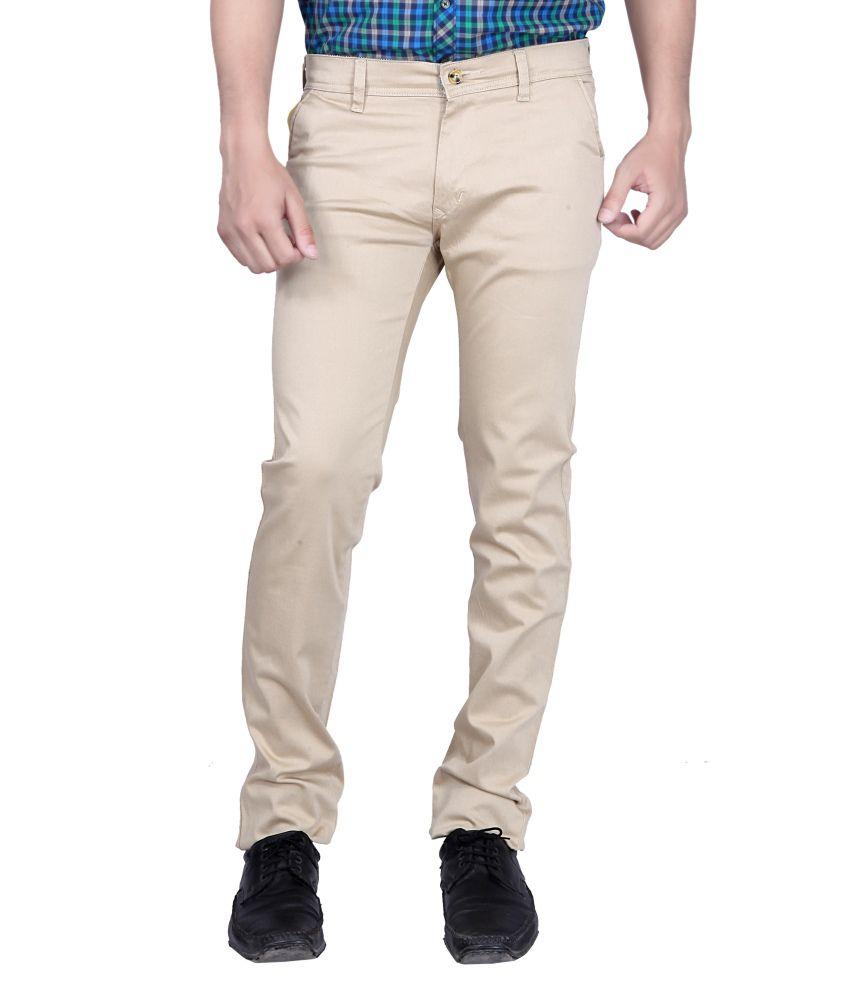 Kivon Beige Cotton Lycra Trouser