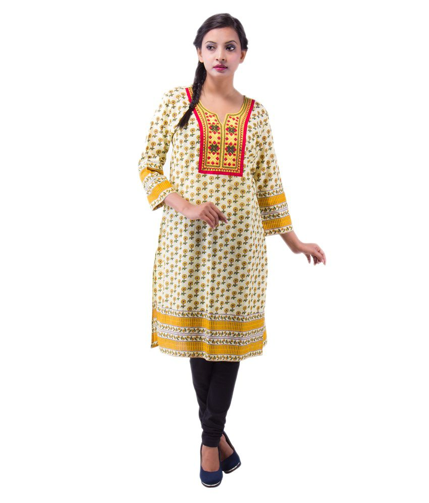 The Luxorian Red Cotton Embroidered Kurti
