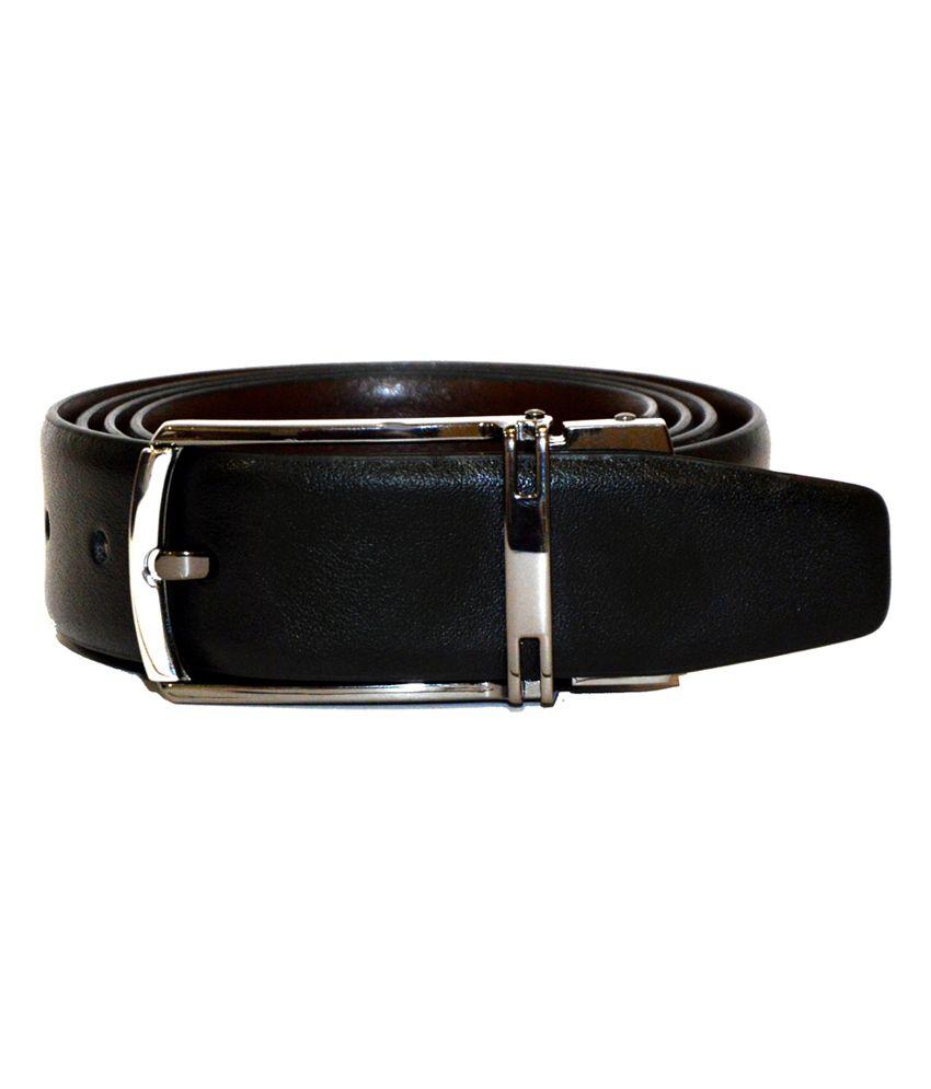 Dennison Black Leather Reversible Formal Belt