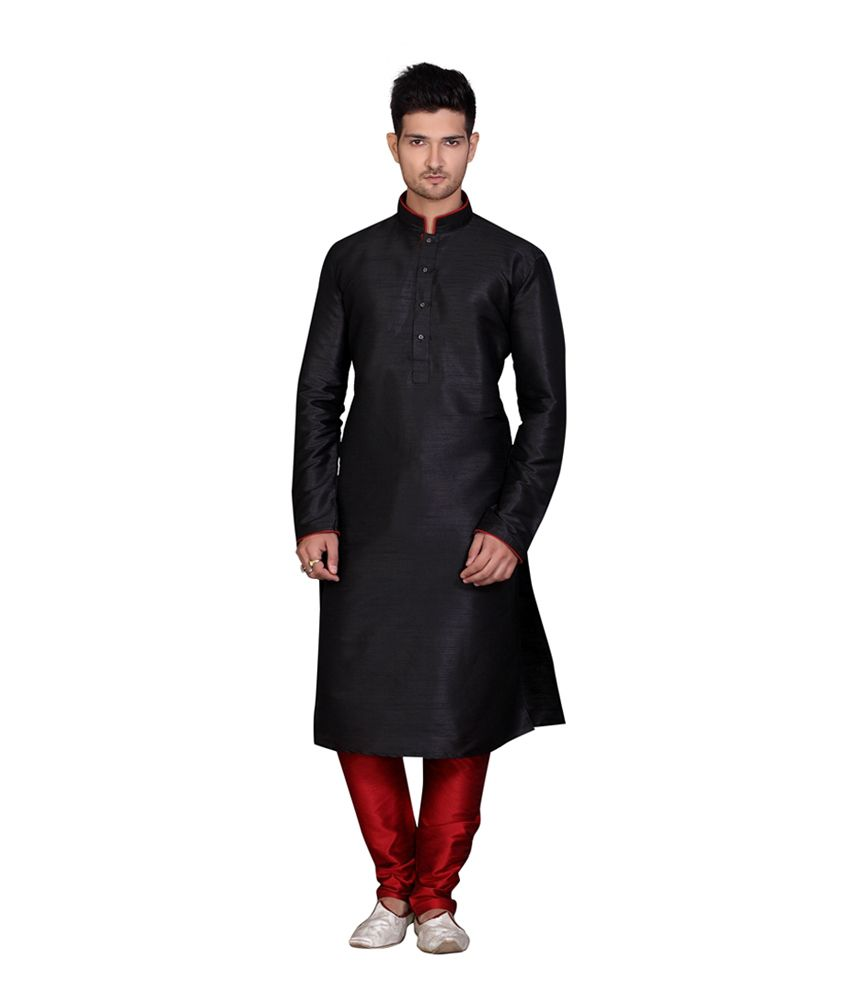 Fuzion Couture Black Silk Blend Full Sleeves Wedding Wear Kurta Pyjama Sets
