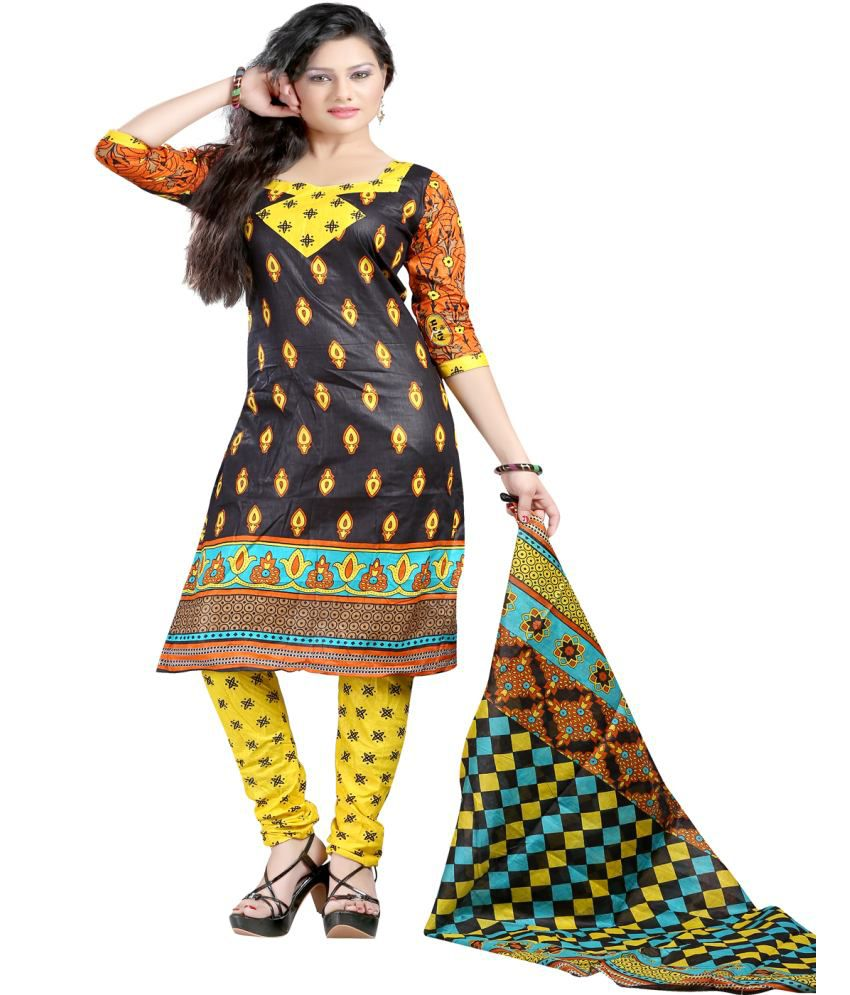 Harsh Fashions Multicoloured Cotton Silk Straight Unstitched Dress Material