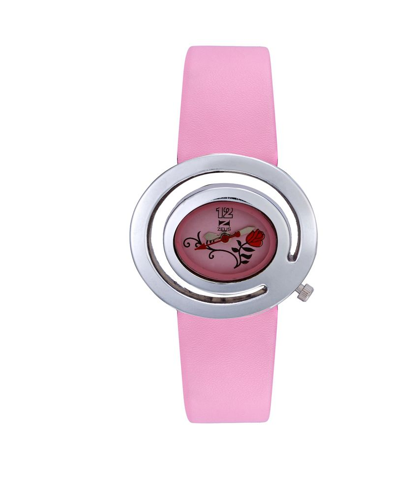 Zeus Pink Leather Analog Watch