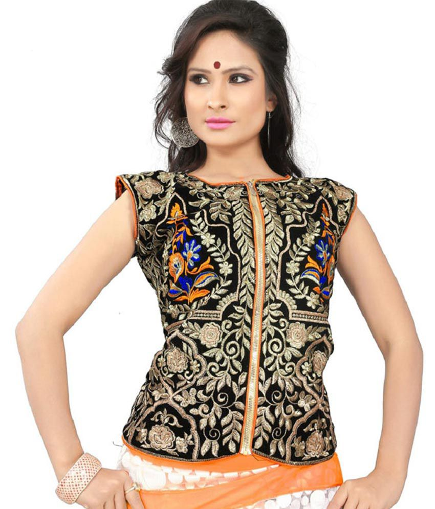 757e054d698a9 Agarwal Fashion Black Embroidered Velvet Full Sleeves High Neck Jacket  Blouse - Buy Agarwal Fashion Black Embroidered Velvet Full Sleeves High  Neck Jacket ...