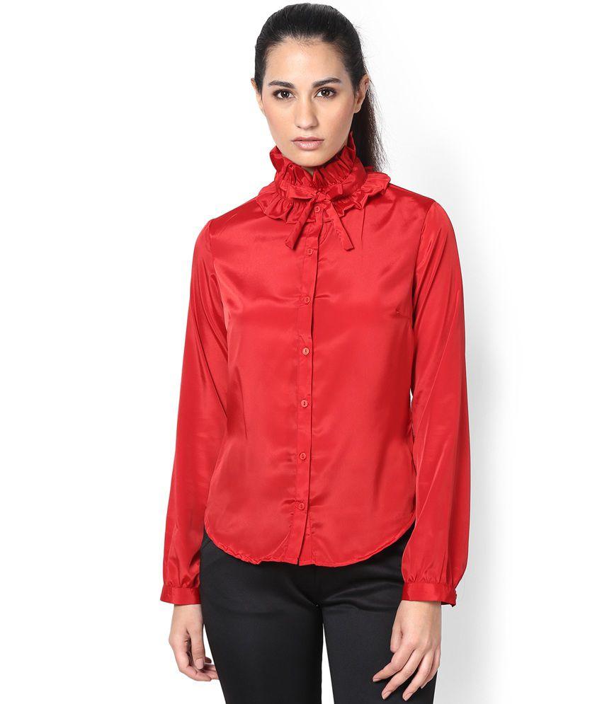 KAARYAH Red Gathered Collar Shirt