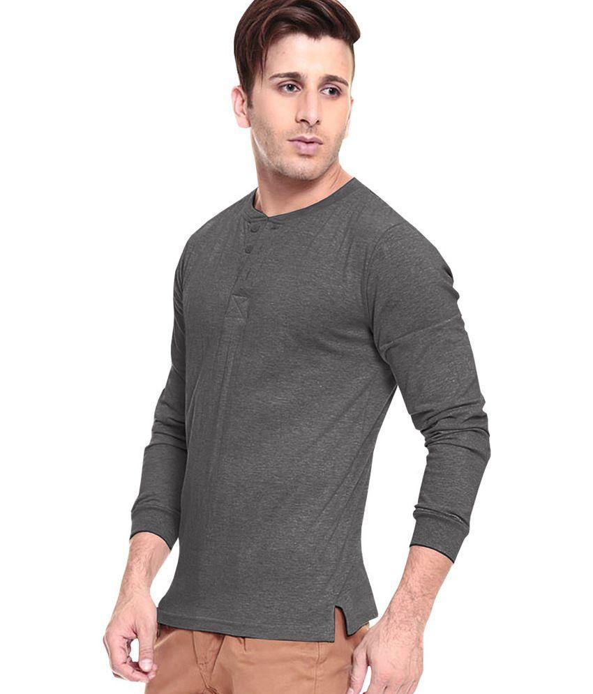 b9131009 Softwear Grey Cotton Henley Full Sleeves T-Shirt - Buy Softwear Grey ...