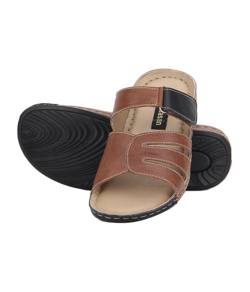 Aditi Wasan Genuine Leather Tan Comfort Slippers