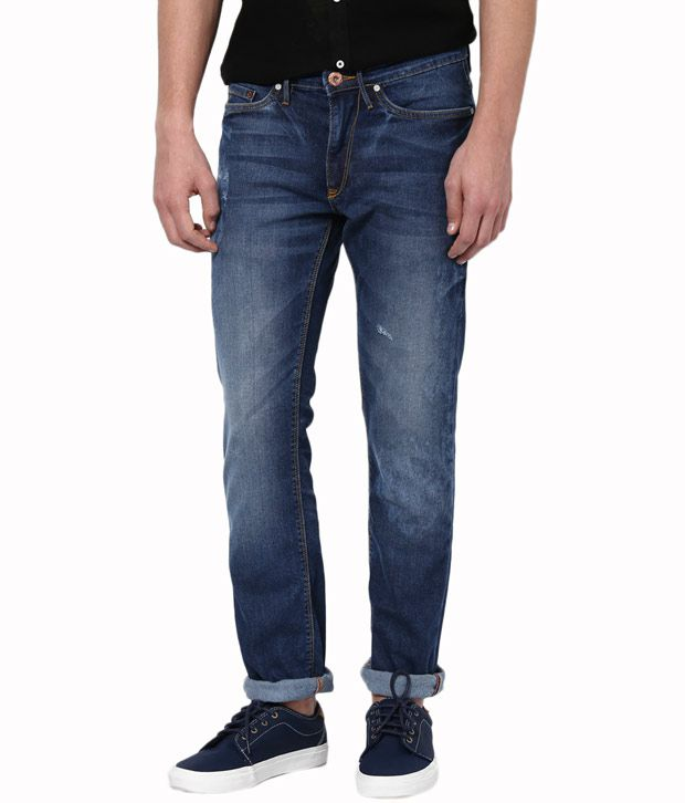 Allen Solly Blue Cotton Skinny Fit Jeans