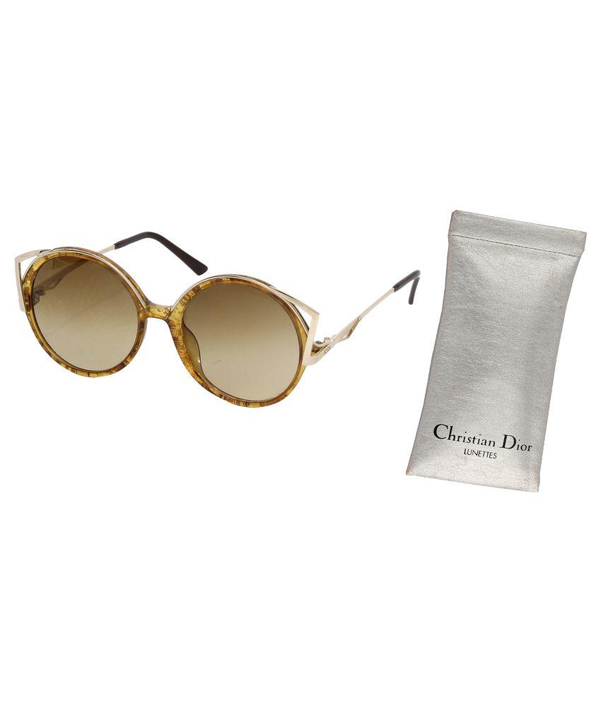 Christian Dior Round Non Metal Women Uv Protection Designer Brown Medium TRUE Fashionable Sunglasses 3m Metal Sunglasses