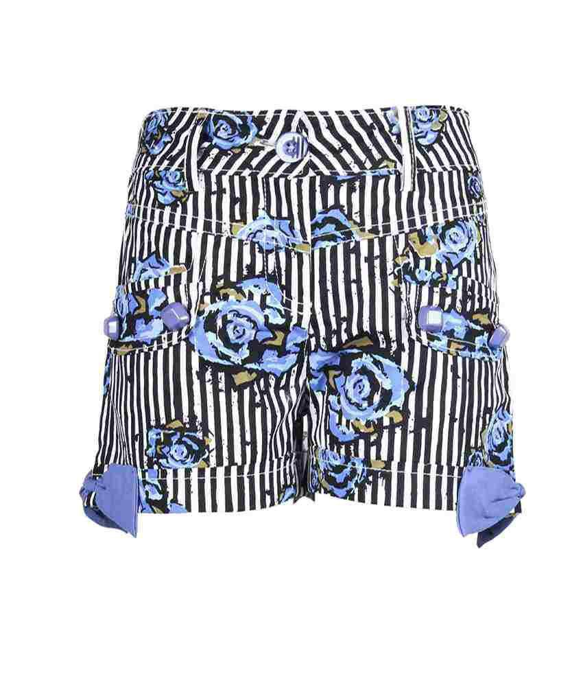 Cutecumber Blue Mesh Elastic Printed Short For Girls